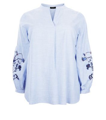 Curves Blue Floral Embroidered Overhead Shirt New Look