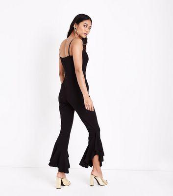 Petite Black Frill Hem Sweetheart Neck Jumpsuit New Look