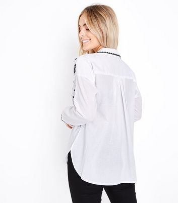 Petite White Folk Embroidered Overhead Shirt New Look