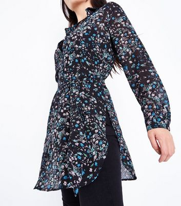 Petite Black Floral Chiffon Longline Belted Shirt New Look
