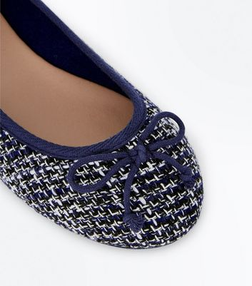 Wide Fit Navy Boucle Ballet Pumps New Look