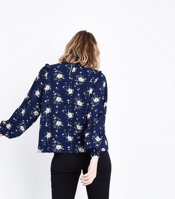 Urban Bliss Navy Floral Ruffle Blouse New Look