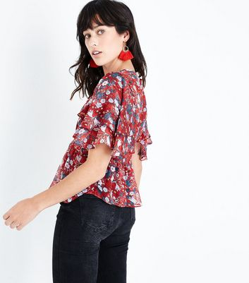 Urban Bliss Red Floral Sheer Top New Look