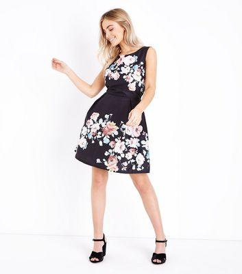 Mela Black Floral Print Prom Dress New Look