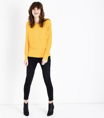 QED Yellow Oversized Hem Top New Look