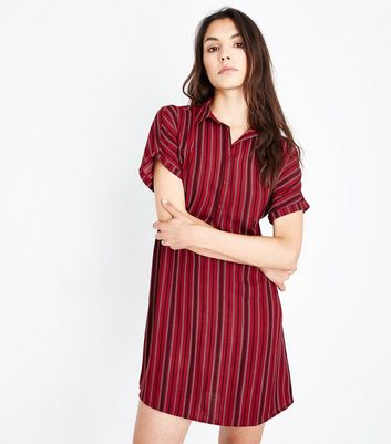 Red Stripe Tie Toggle Waist Shirt Dress New Look