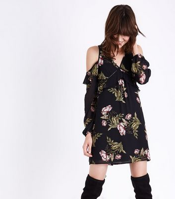 Black Floral Ladder Trim Cold Shoulder Dress New Look