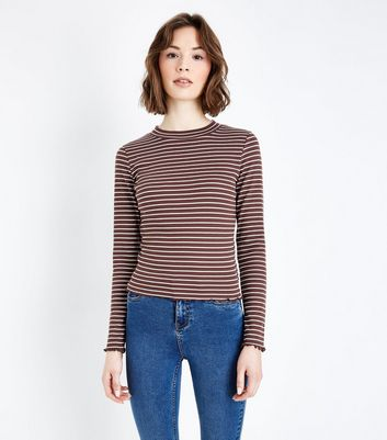Light Brown Stripe Long Sleeve Ribbed T-Shirt