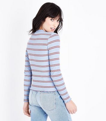 Blue Stripe Long Sleeve Ribbed T-Shirt New Look
