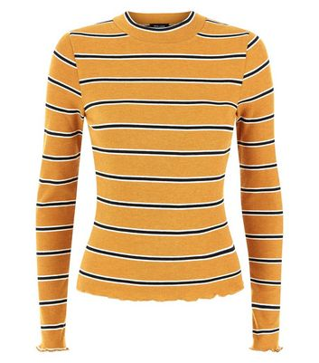 Mustard Yellow Stripe Long Sleeve Ribbed T-Shirt New Look