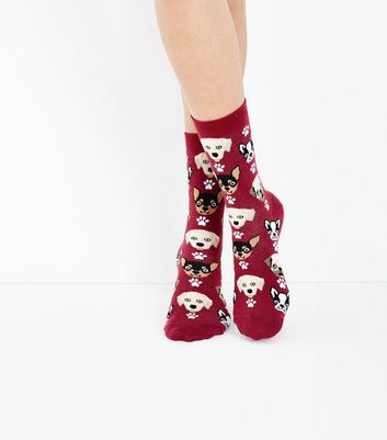 Burgundy Dog Pattern Socks New Look