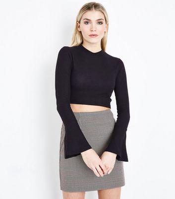 Black Ribbed Bell Sleeve Crop Top New Look