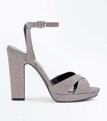 Multicoloured Glitter Cross Strap Platform Heels