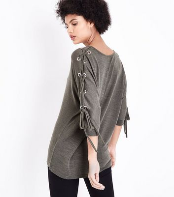 Khaki Fine Knit Eyelet Batwing Sleeve Top New Look