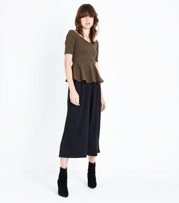 Khaki Sweetheart Neck Peplum Hem Top New Look