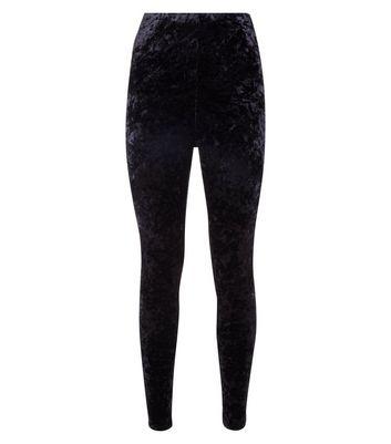 Black Crushed Velvet High Waist Leggings New Look