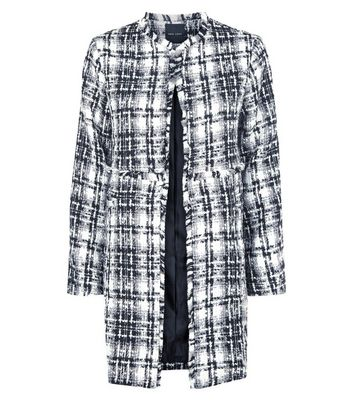 Black Check Boucle Cocoon Coat New Look