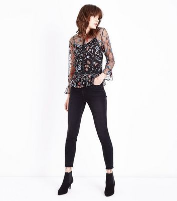 Tall Black Floral Embroidered Mesh Peplum Top New Look