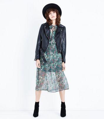 Influence Green Floral Frill Trim Midi Dress New Look