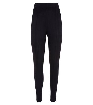 Black Suedette Leggings New Look