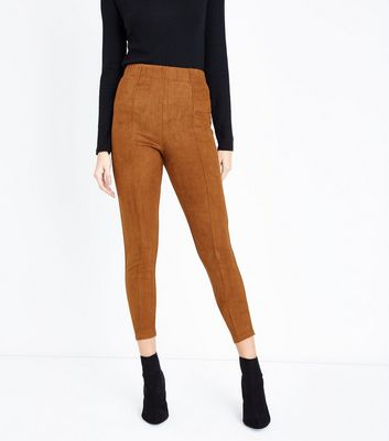 Tan Suedette Leggings New Look