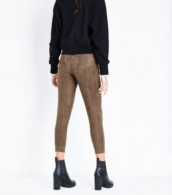 Khaki Suedette Leggings New Look