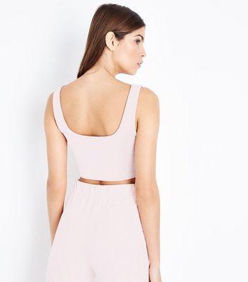 Shell Pink Suedette Crop Top New Look