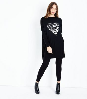 QED Black Sequin Zebra Heart Longline Top New Look
