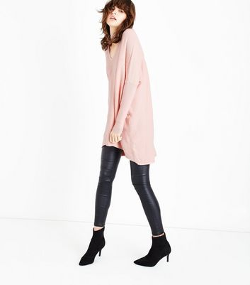 QED Pink Choker Neck Embellished Longline Jumper New Look