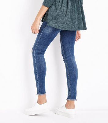 Maternity Blue Ripped Fray Hem Under Bump Skinny Jeans New Look