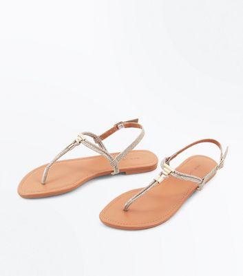 Gold Glitter Metal Trim Toe Post Sandals New Look