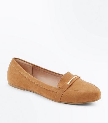 Wide Fit Tan Suedette Metal Trim Loafers New Look