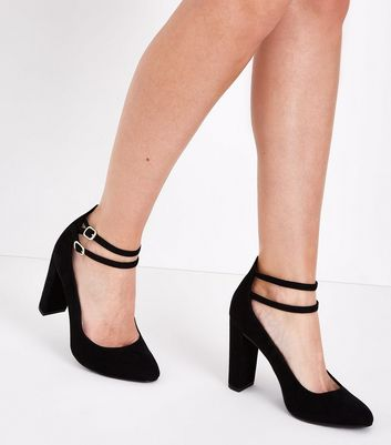Wide Fit Black Suedette Double Ankle Strap Courts New Look