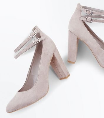 Wide Fit Grey Suedette Double Ankle Strap Courts New Look