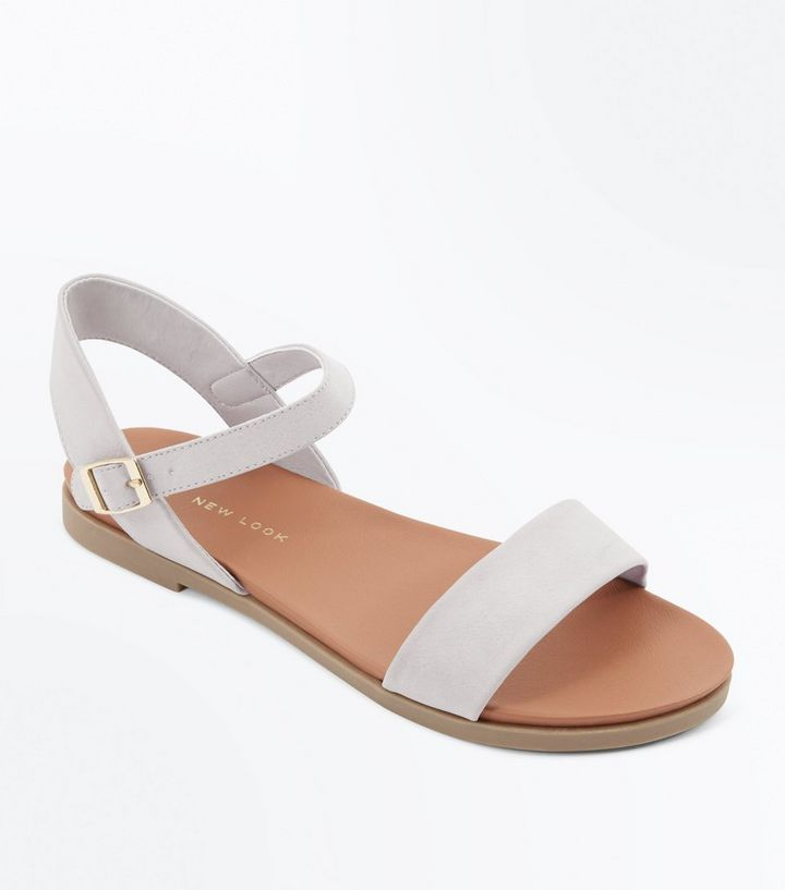 great quality designer fashion elegant shoes Wide Fit Grey Flat Sandals Add to Saved Items Remove from Saved Items