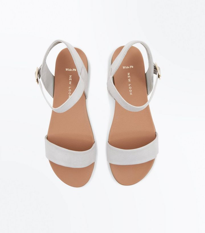 39f65938637f2 ... Shoes · Sandals · Wide Fit Grey Flat Sandals. ×. ×. ×. Shop the look
