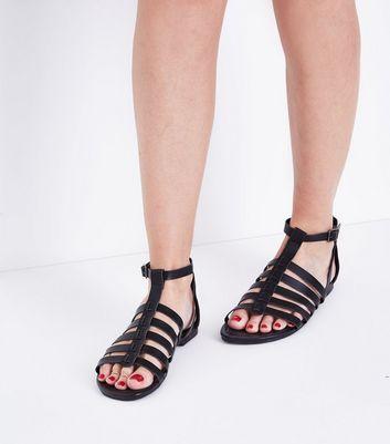 Wide Fit Black Gladiator Flat Sandals