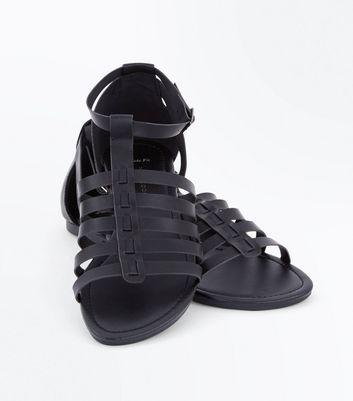 Wide Fit Black Gladiator Flat Sandals New Look