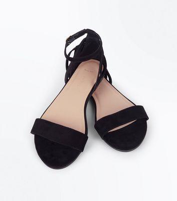 Wide Fit Black Suedette Cage Back Ankle Strap Sandals New Look
