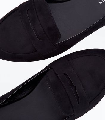 Black Suedette Penny Loafers New Look