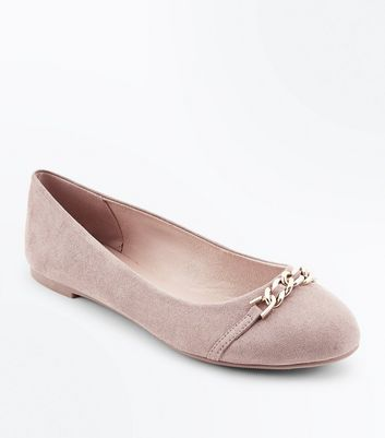 Light Brown Suedette Chain Top Pumps New Look