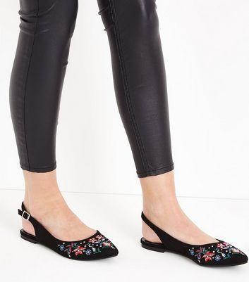 Black Suedette Floral Embroidered Slingback Pumps New Look