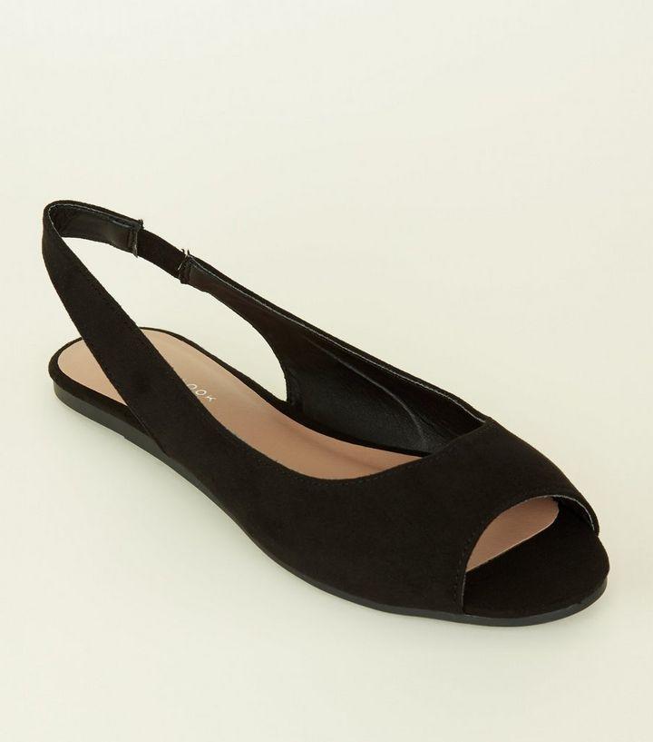 e2ada4bd907 Black Suedette Peep Toe Flat Slingbacks