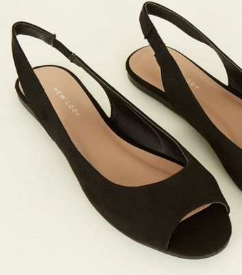 black peep toe flats cheap online