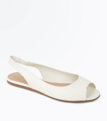 White Peep Toe Flat Slingbacks