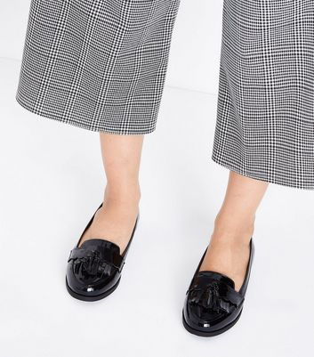 Black Patent Scallop Tassel Front Loafers New Look