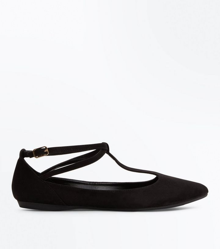 b6e250fc192 Black Suedette Strappy T-Bar Pointed Pumps Add to Saved Items Remove from  Saved Items