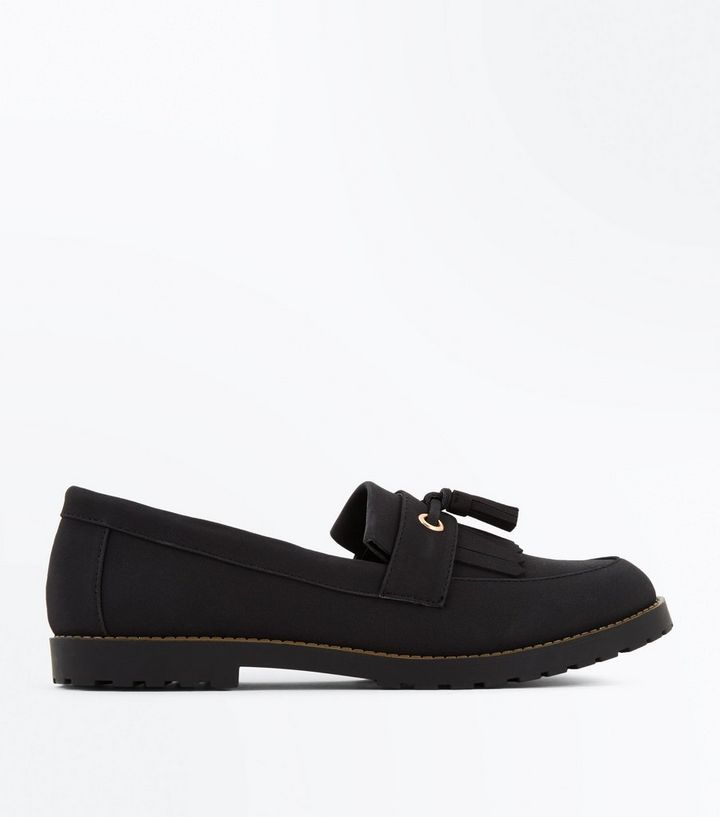 e66c01d12ad Black Chunky Cleated Sole Tassel Front Loafers