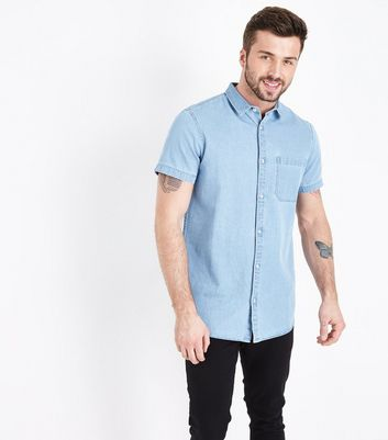 Pale Blue Short Sleeve Denim Shirt