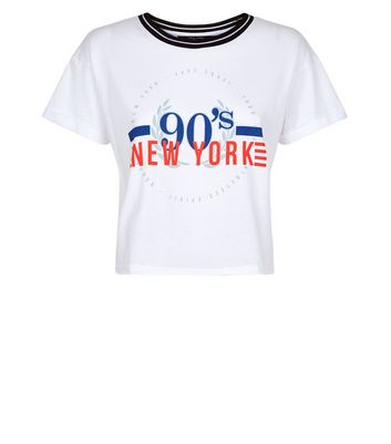 Teens White 90s New York Circle Print T-Shirt New Look
